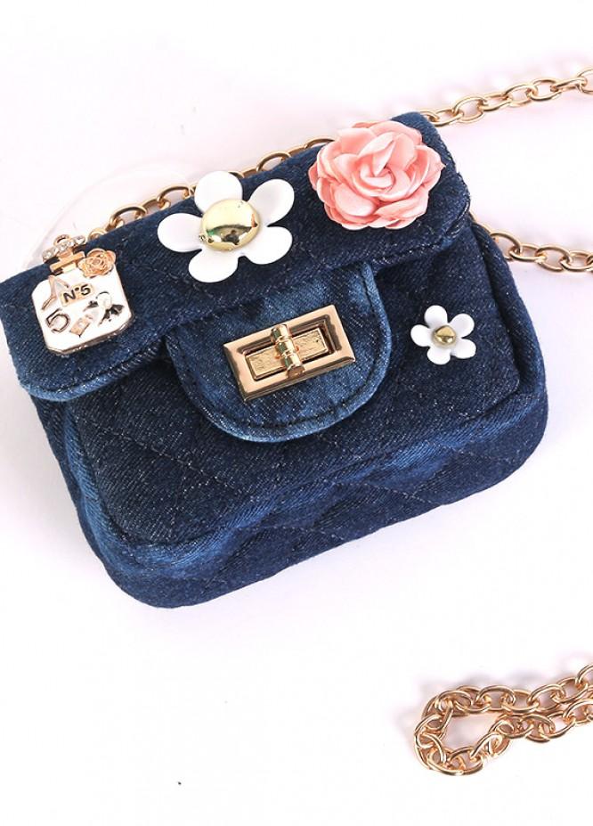 Denim Mini Handbags for Girls - Blue with Multi Flower Keyring