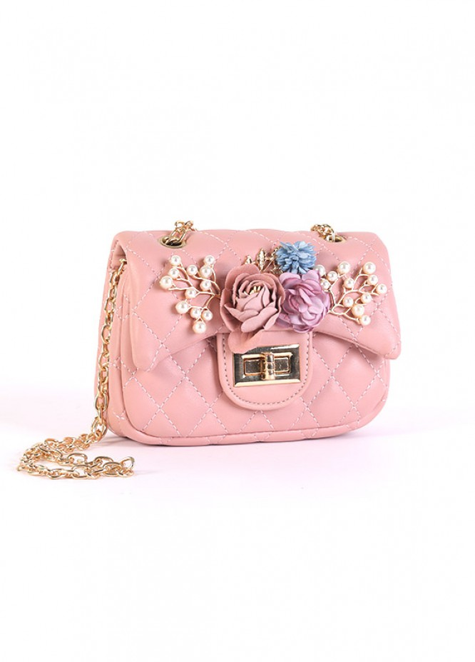 PU Leather Mini Handbags for Girls - Pink with Pearl With Multi Flower Keyring