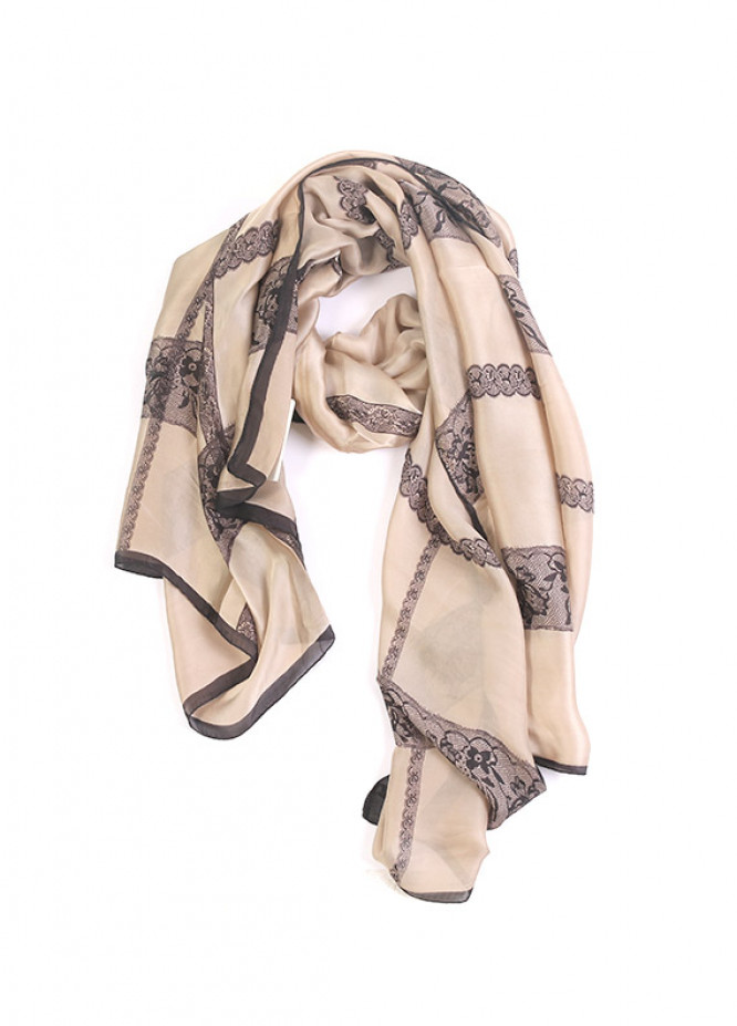 Beige Printed Silk Stoles for ladies - SA 407