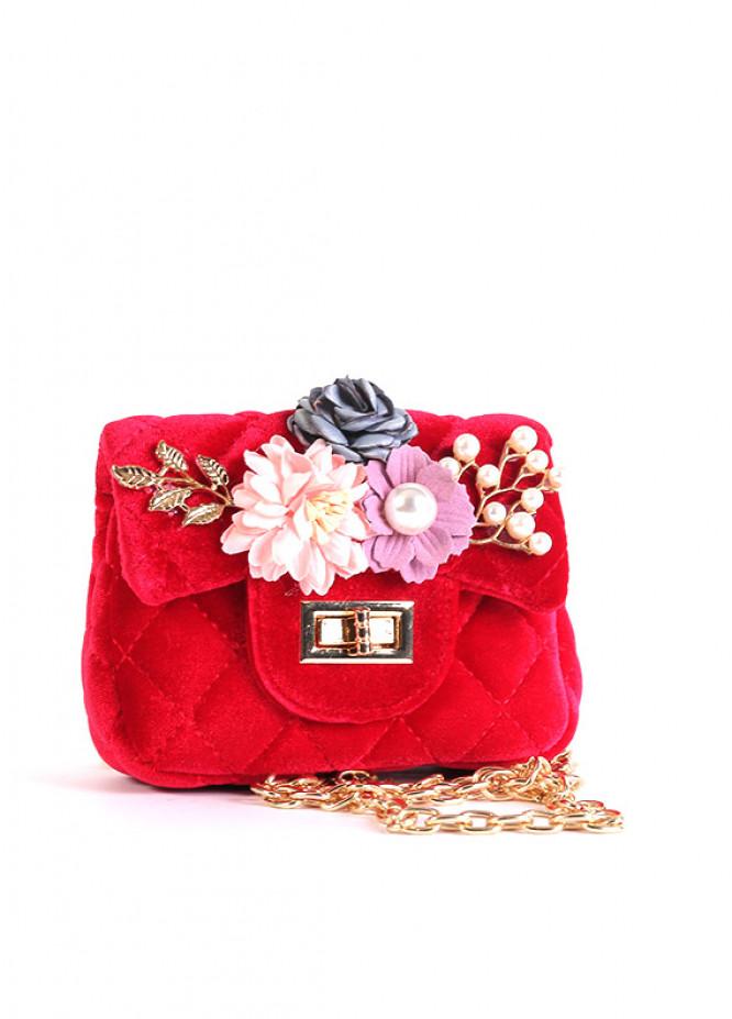 Velvet Mini Handbags for Girls - Red with Velvet  Keyring