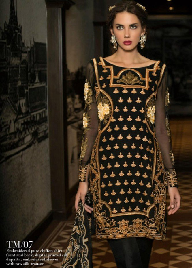 Tabassum Mughal Embroidered Chiffon Unstitched 3 Piece Suit TM17E 07