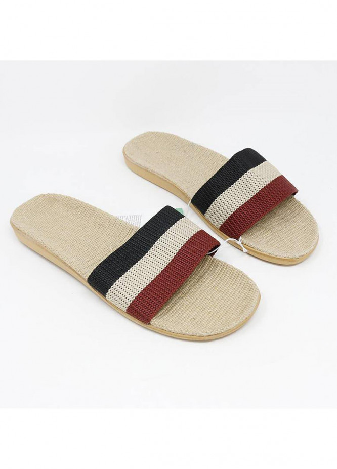 Mumuso Casual Style  Flat Slippers LINEN INSOLE-BLACK and RED