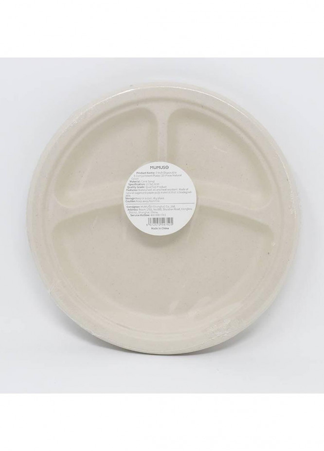 Mumuso 9 INCH DISPOSABLE 3-COMPARTMENT PLATE