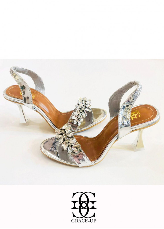 Grace Up Shoes Formal Style  Heels  984 SILVER