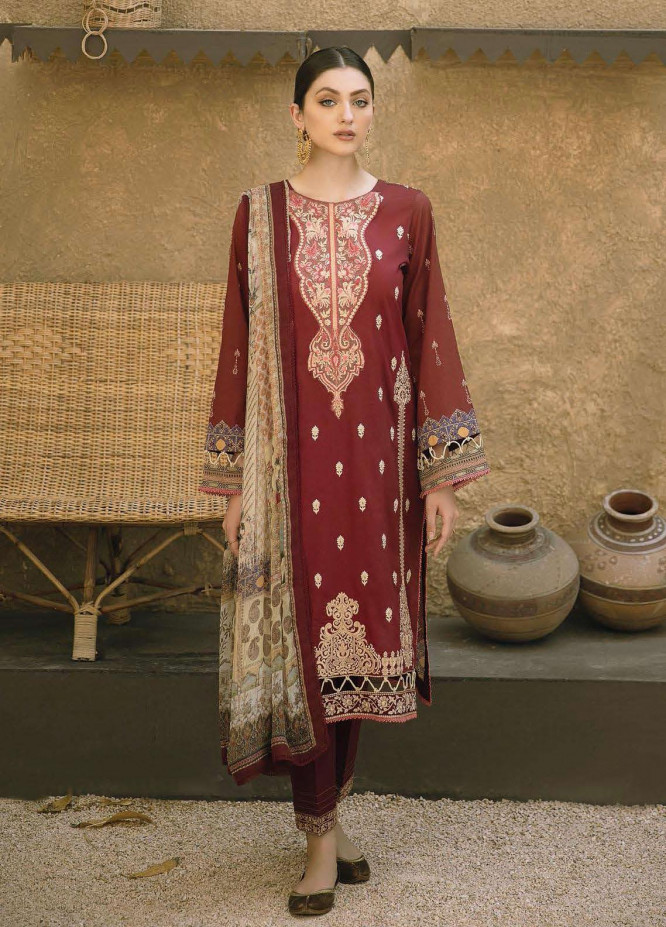 Aabyaan Embroidered Lawn Suits Unstitched 3 Piece ABY21E 05 Shafaq - Eid Collection