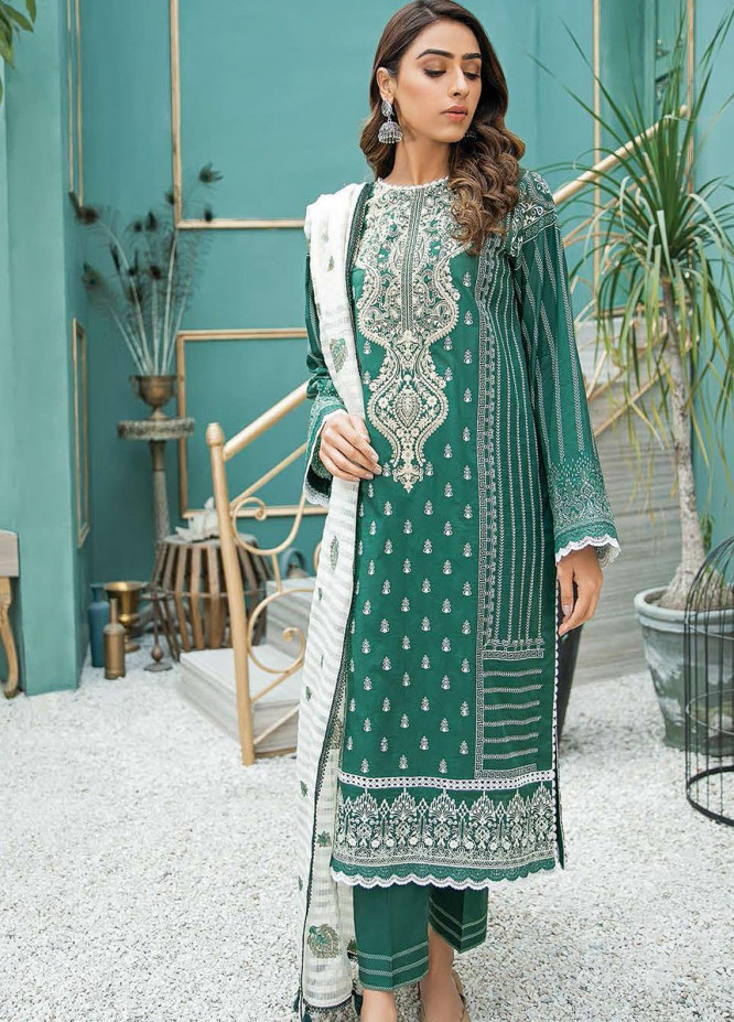 Aabyaan Embroidered Lawn Suits Unstitched 3 Piece ABY21L D-06 - Summer Collection