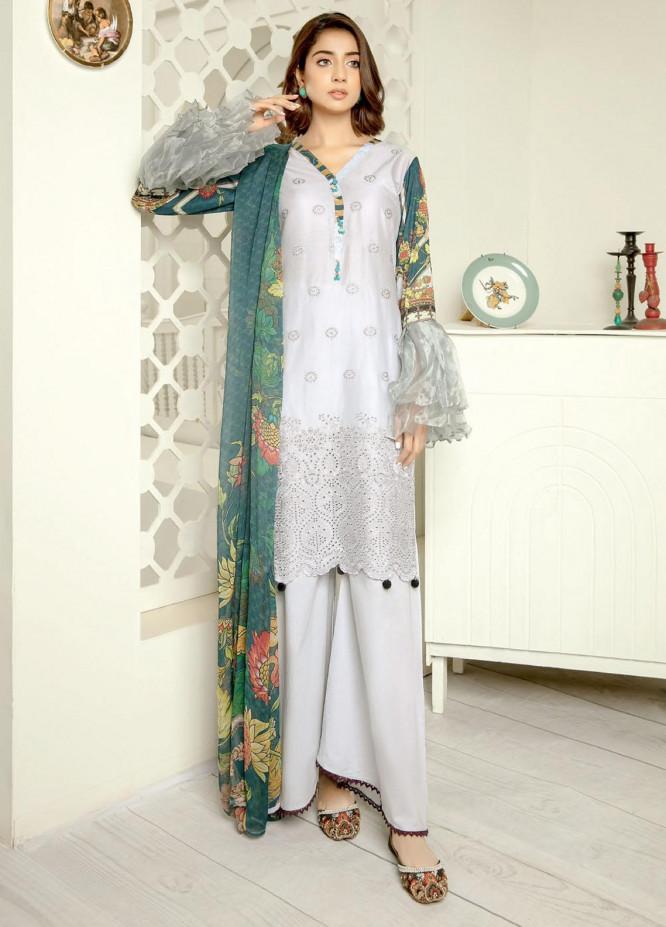 Aafreen By Riaz Arts Embroidered Lawn Suits Unstitched 3 Piece RA21-AF11 86 - Summer Collection