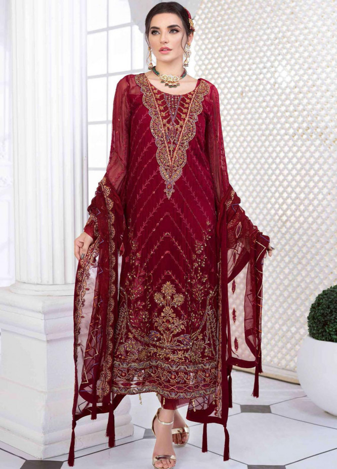 Aashna by Meeral Embroidered Chiffon Suits Unstitched 4 Piece MRL21A 03-ELAHEH - Luxury Collection