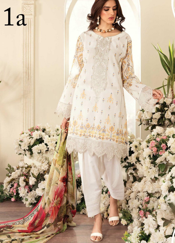 Aayra Embroidered Lawn Suits Unstitched 3 Piece AY21L 01A - Luxury Collection