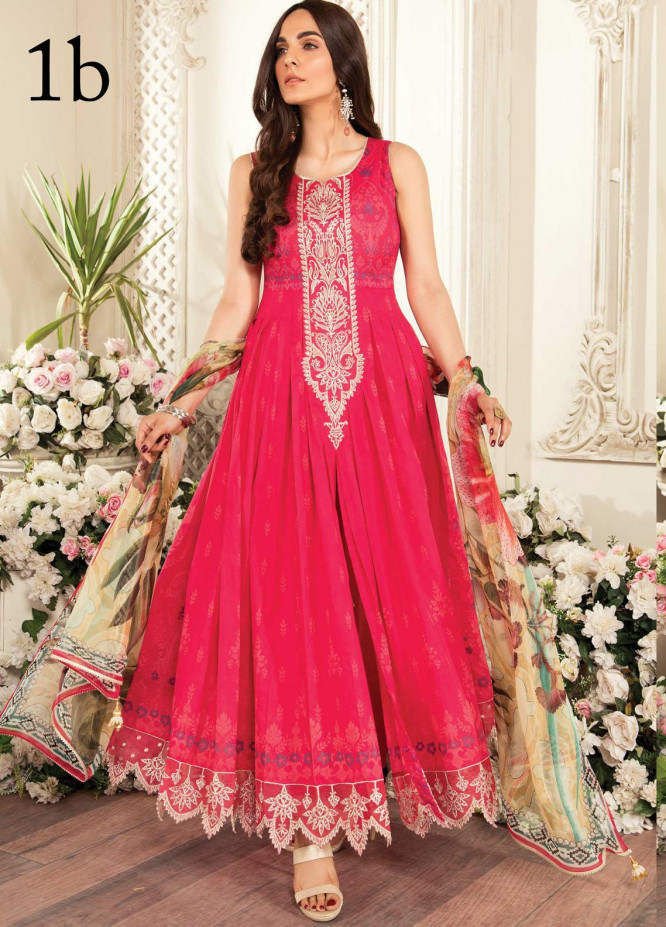 Aayra Embroidered Lawn Suits Unstitched 3 Piece AY21L 01B - Luxury Collection