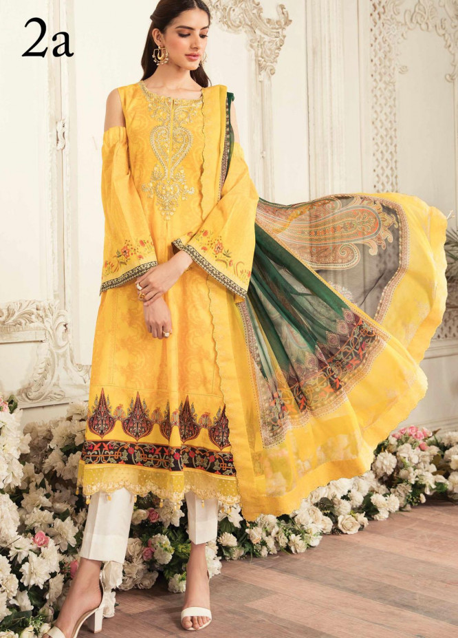 Aayra Embroidered Lawn Suits Unstitched 3 Piece AY21L 02A - Luxury Collection
