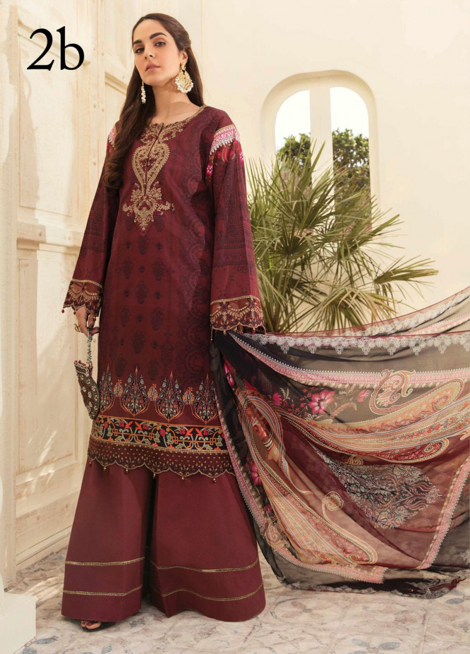 Aayra Embroidered Lawn Suits Unstitched 3 Piece AY21L 02B - Luxury Collection