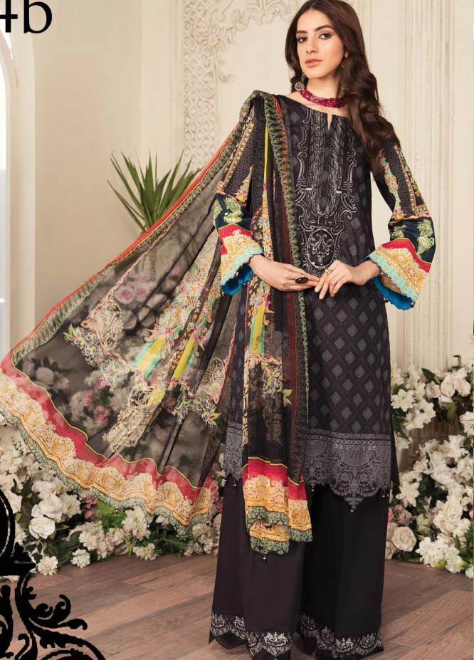 Aayra Embroidered Lawn Suits Unstitched 3 Piece AY21L 04B - Luxury Collection