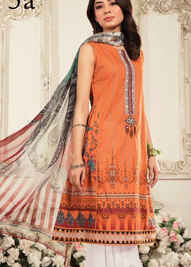 Aayra Embroidered Lawn Suits Unstitched 3 Piece AY21L 05A - Luxury Collection