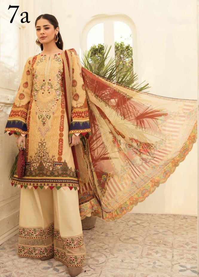 Aayra Embroidered Lawn Suits Unstitched 3 Piece AY21L 07A - Luxury Collection