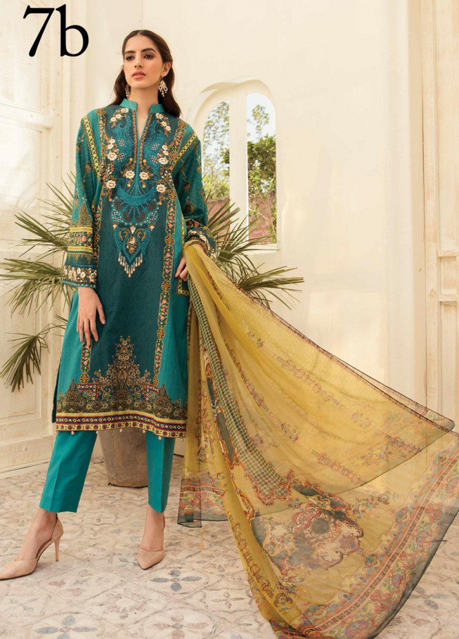 Aayra Embroidered Lawn Suits Unstitched 3 Piece AY21L 07B - Luxury Collection