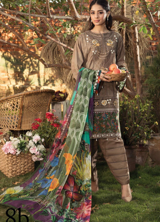 Aayra Embroidered Lawn Suits Unstitched 3 Piece AY21L 08B - Luxury Collection