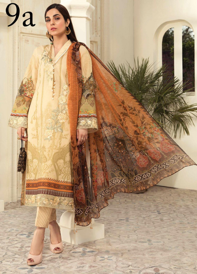 Aayra Embroidered Lawn Suits Unstitched 3 Piece AY21L 09A - Luxury Collection