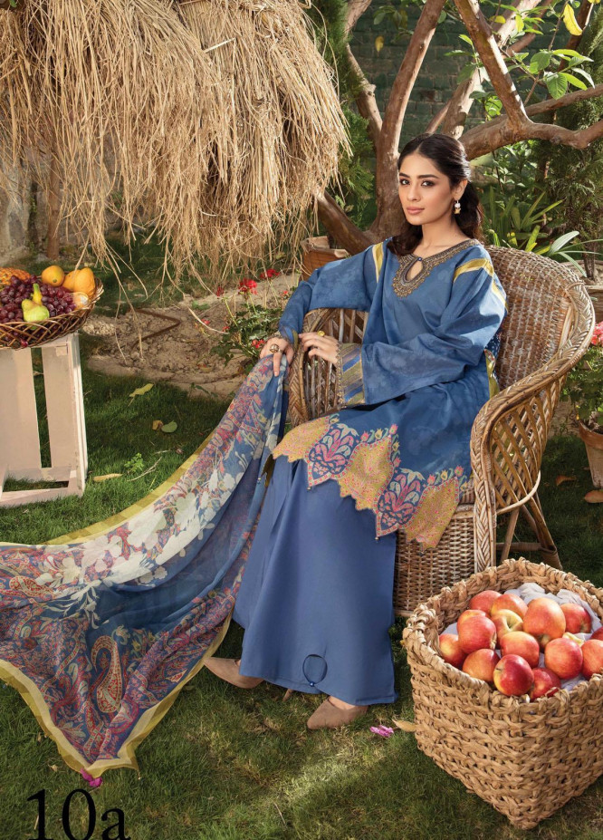 Aayra Embroidered Lawn Suits Unstitched 3 Piece AY21L 10A - Luxury Collection
