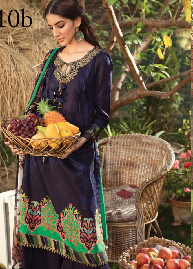 Aayra Embroidered Lawn Suits Unstitched 3 Piece AY21L 10B - Luxury Collection
