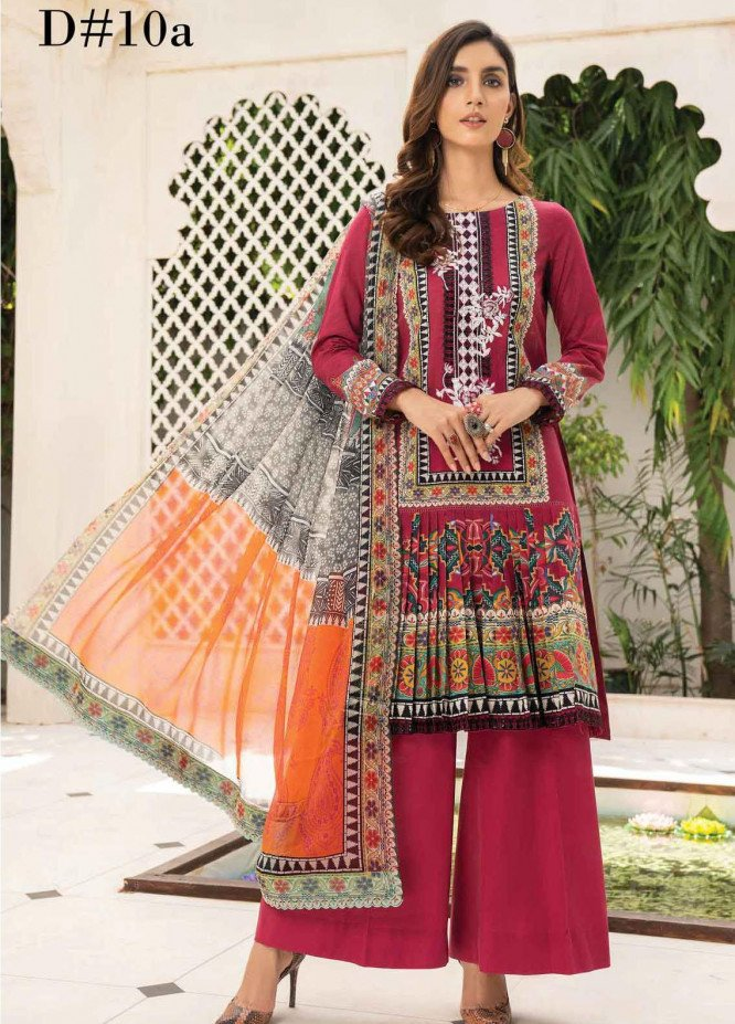 Abrish by Marwat Textiles Embroidered Lawn Suits Unstitched 3 Piece MW21A 10A - Summer Collection