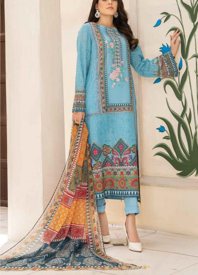 Abrish by Marwat Textiles Embroidered Lawn Suits Unstitched 3 Piece MW21A 10B - Summer Collection