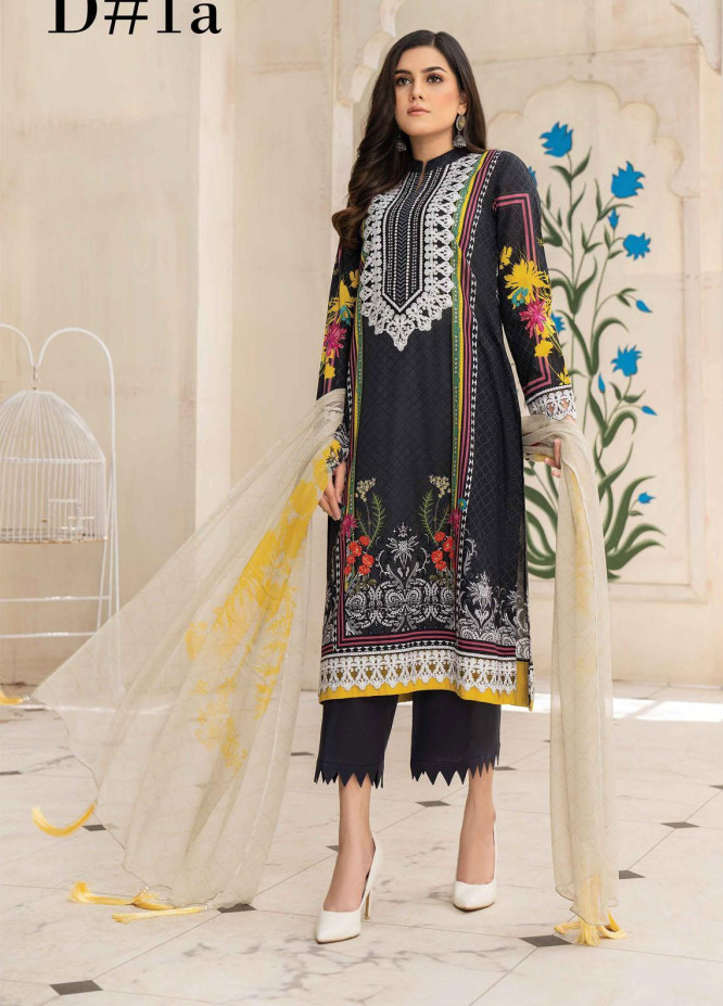 Abrish by Marwat Textiles Embroidered Lawn Suits Unstitched 3 Piece MW21A 1A - Summer Collection