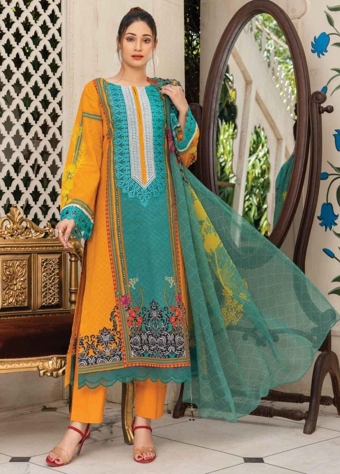Abrish by Marwat Textiles Embroidered Lawn Suits Unstitched 3 Piece MW21A 1B - Summer Collection