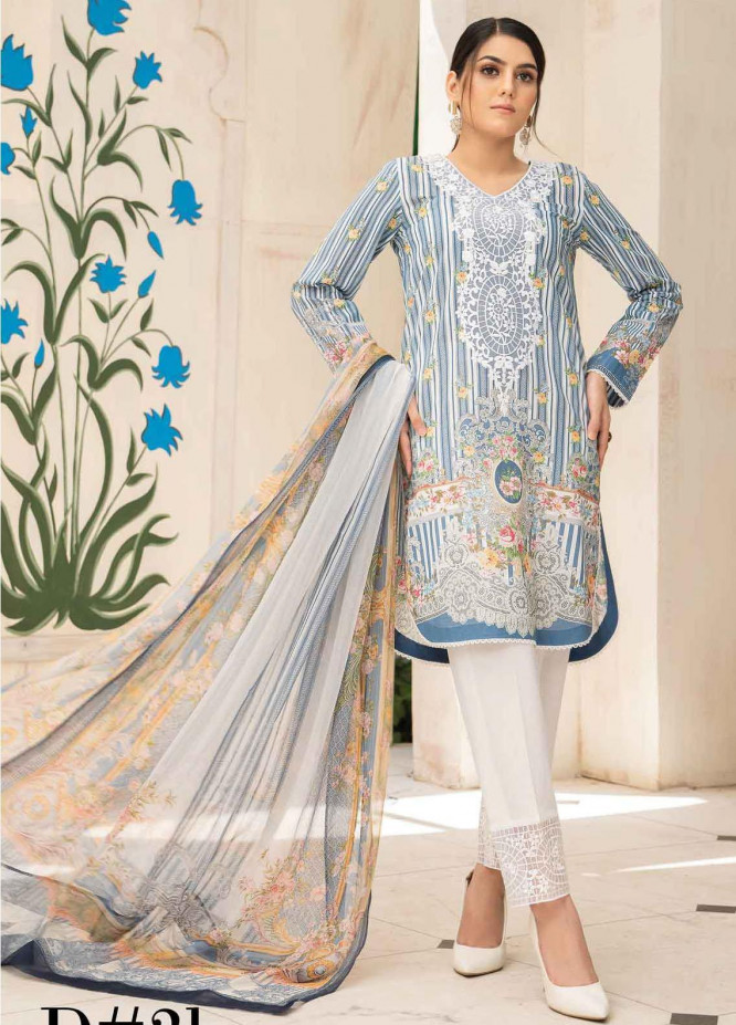 Abrish by Marwat Textiles Embroidered Lawn Suits Unstitched 3 Piece MW21A 2B - Summer Collection