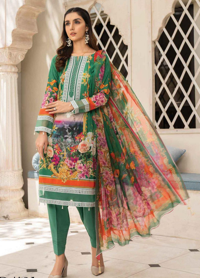 Abrish by Marwat Textiles Embroidered Lawn Suits Unstitched 3 Piece MW21A 3B - Summer Collection