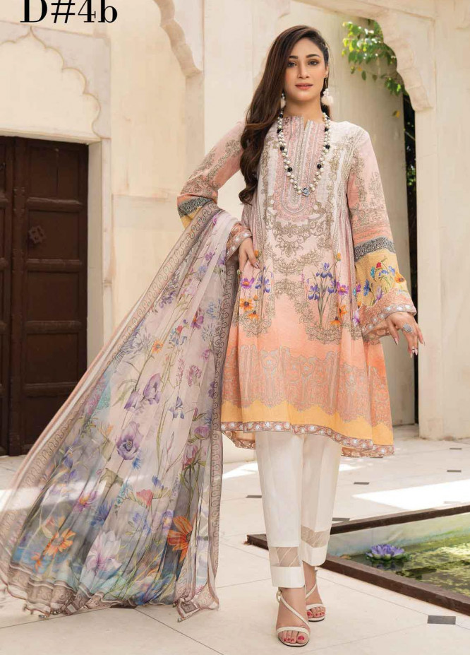 Abrish by Marwat Textiles Embroidered Lawn Suits Unstitched 3 Piece MW21A 4B - Summer Collection