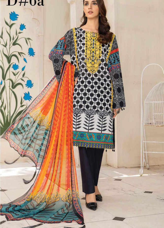 Abrish by Marwat Textiles Embroidered Lawn Suits Unstitched 3 Piece MW21A 6A - Summer Collection