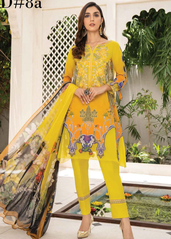 Abrish by Marwat Textiles Embroidered Lawn Suits Unstitched 3 Piece MW21A 8A - Summer Collection