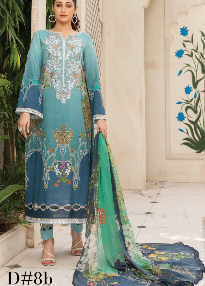 Abrish by Marwat Textiles Embroidered Lawn Suits Unstitched 3 Piece MW21A 8B - Summer Collection