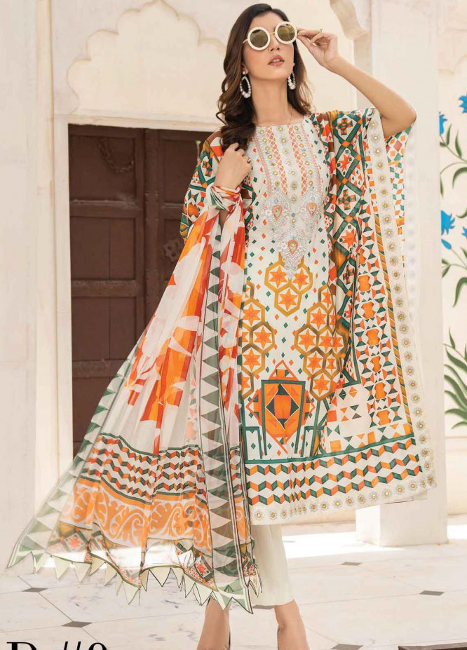 Abrish by Marwat Textiles Embroidered Lawn Suits Unstitched 3 Piece MW21A 9A - Summer Collection