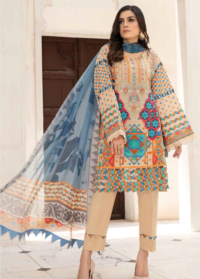 Abrish by Marwat Textiles Embroidered Lawn Suits Unstitched 3 Piece MW21A 9B - Summer Collection