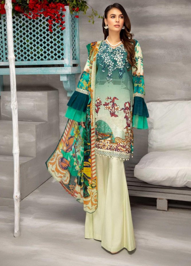 Azure By Adan's Libas Embroidered Lawn Suits Unstitched 3 Piece AL21AL 03 Color Chic - Summer Collection