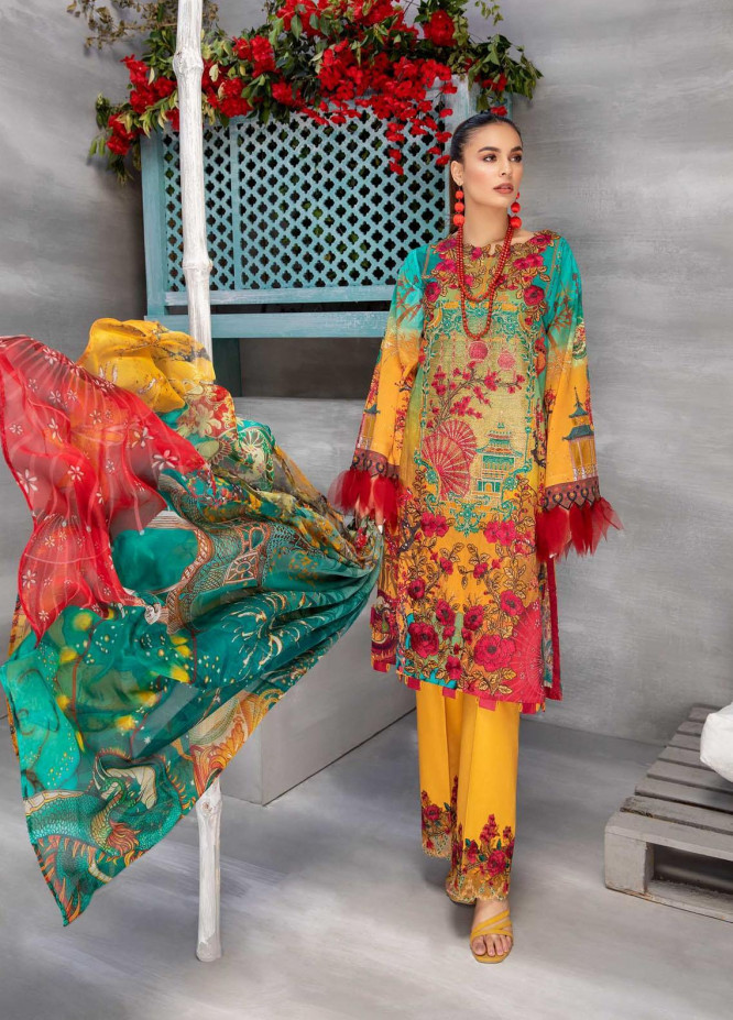 Azure By Adan's Libas Embroidered Lawn Suits Unstitched 3 Piece AL21AL 06 Deeply Glorious - Summer Collection
