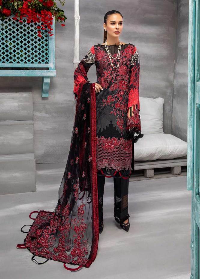 Azure By Adan's Libas Embroidered Lawn Suits Unstitched 3 Piece AL21AL 07 Nighty Sky - Summer Collection