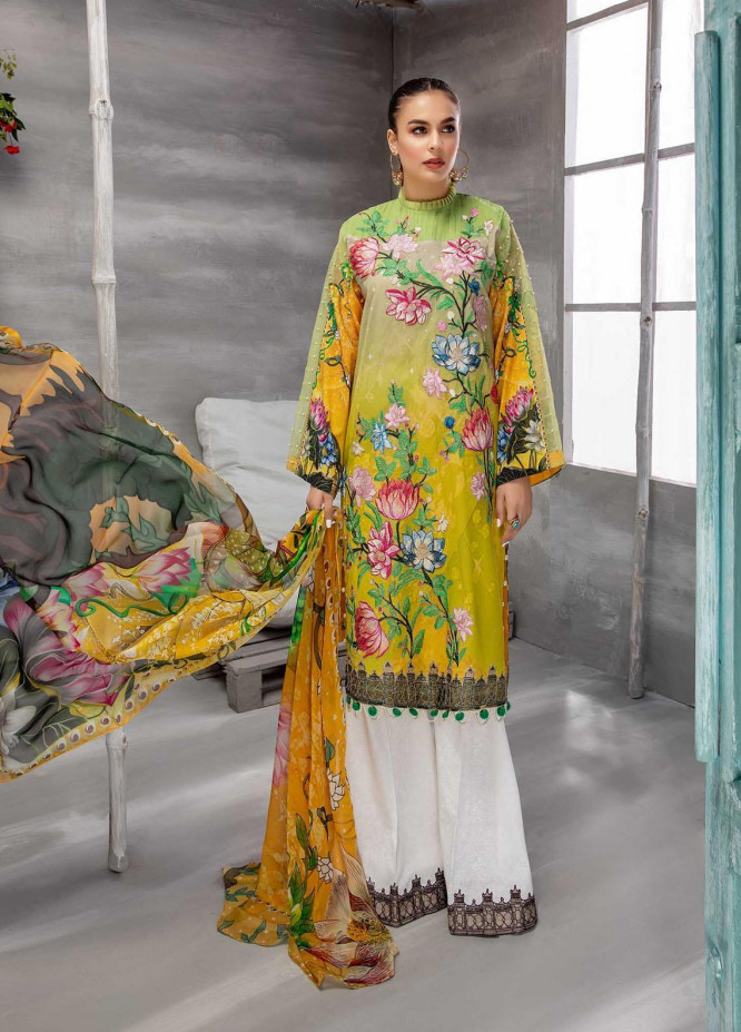 Azure By Adan's Libas Embroidered Lawn Suits Unstitched 3 Piece AL21AL 08 Sun Kissed - Summer Collection