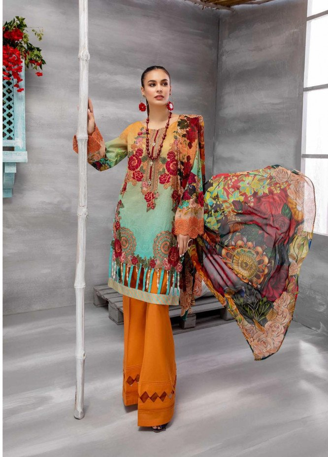 Azure By Adan's Libas Embroidered Lawn Suits Unstitched 3 Piece AL21AL 10 Print Glamour - Summer Collection