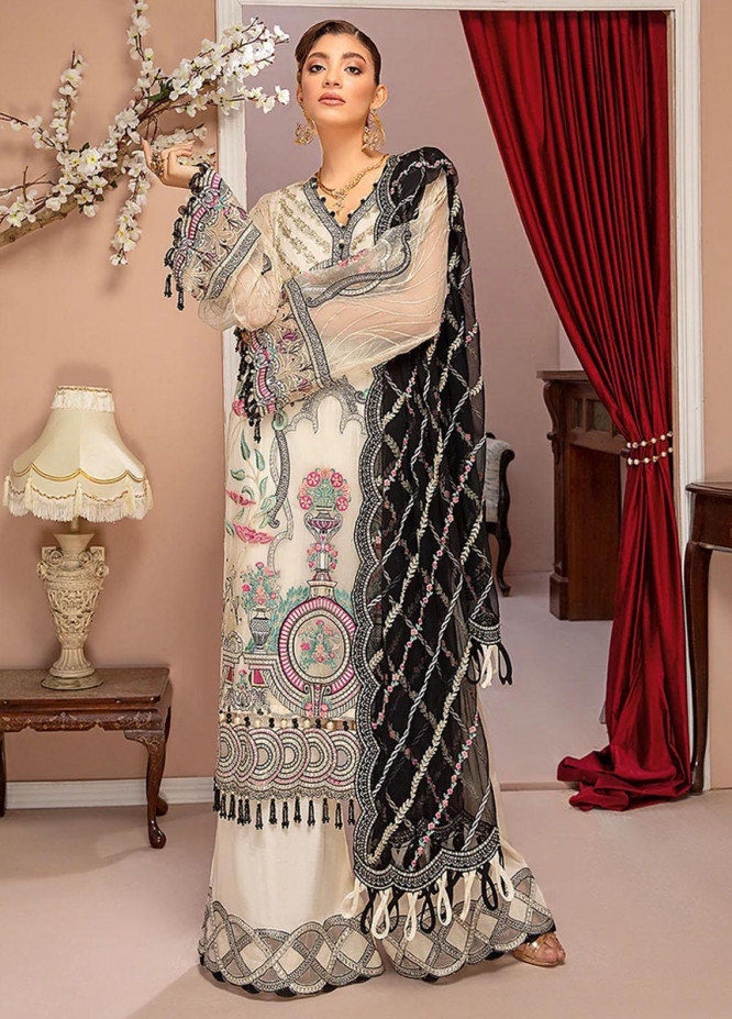 Luxulia By Adan's Libas Embroidered Chiffon Suits Unstitched 3 Piece AL21LC 09 Floral White - Luxury Collection