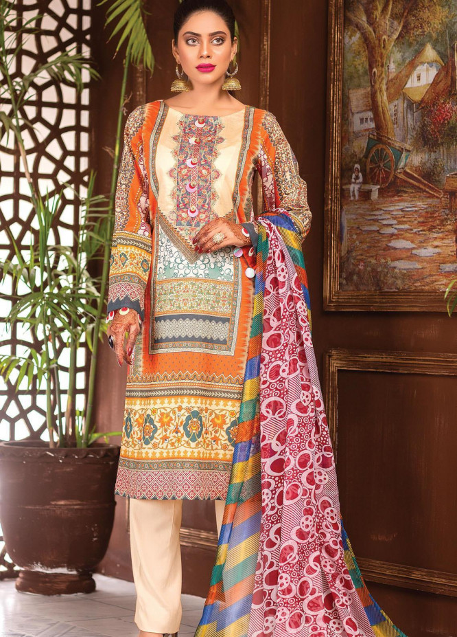 Afreen by Zebaish Embroidered Lawn Suits Unstitched 3 Piece ZSH21AR DE-10 - Summer Collection