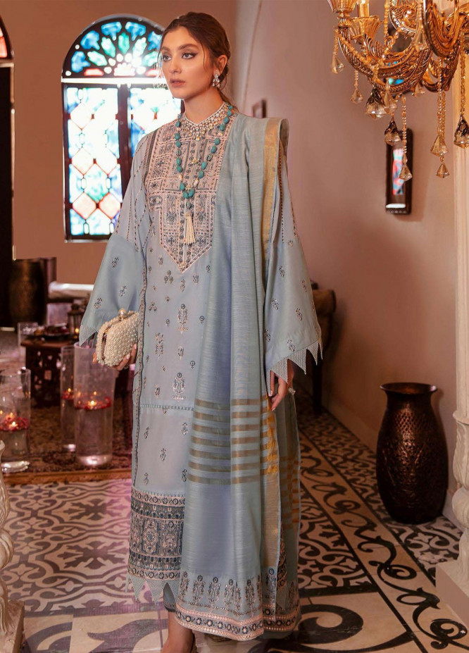 Gul Bahar By Afrozeh Embroidered Lawn Suits Unstitched 3 Piece AF21GB 03 Surmai - Festive Collection
