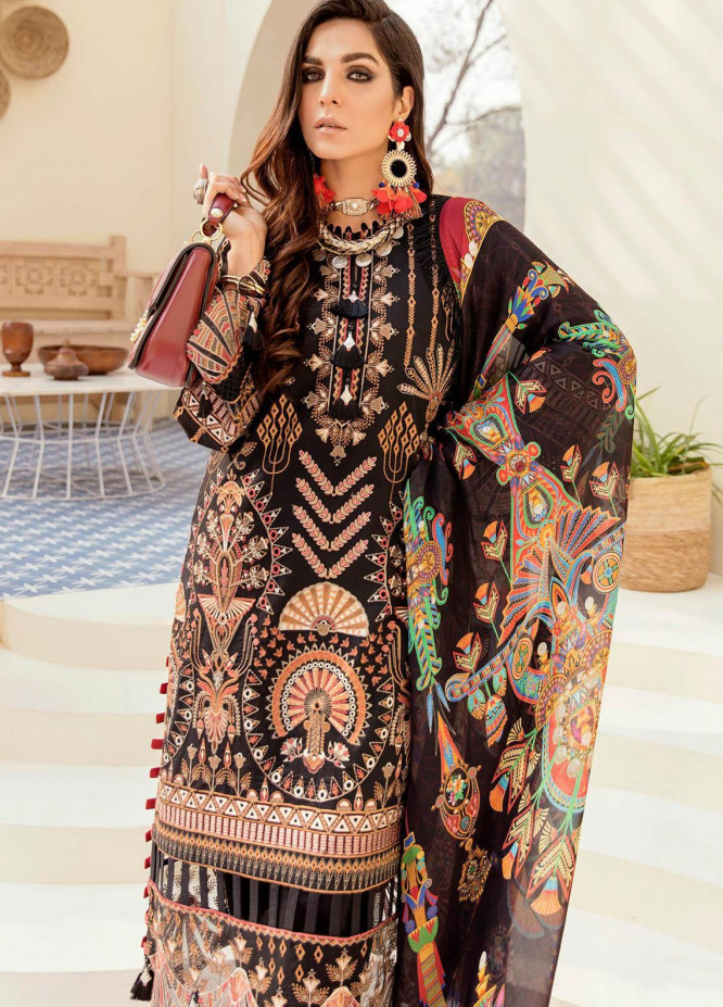 Afrozeh Embroidered Lawn Suits Unstitched 3 Piece AF21SS 09-MAJESTIC RAVEN - Summer Collection