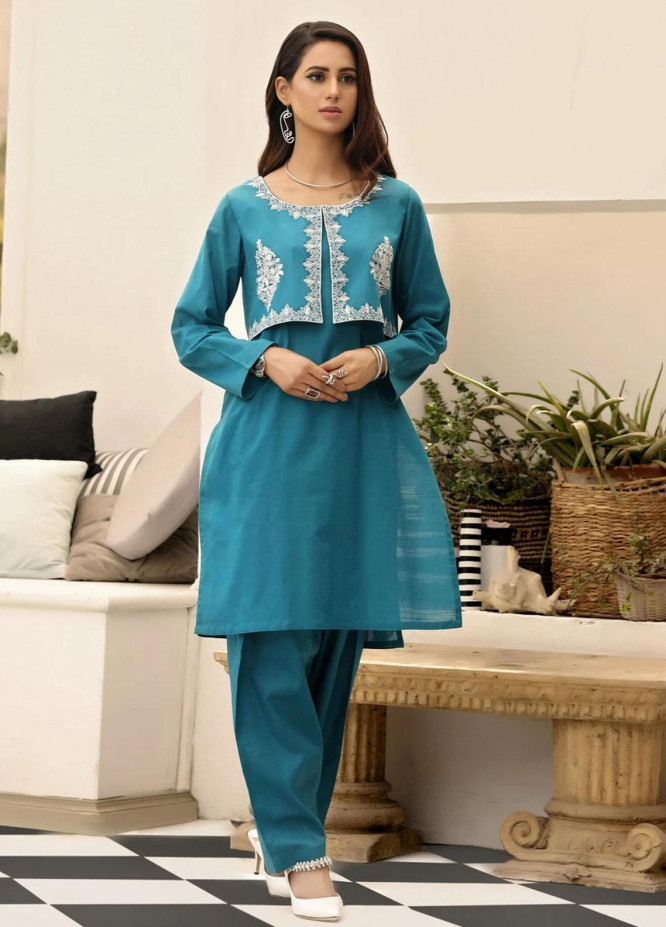 Nuriyaa Casual Pret Embroidered Lawn 2 Piece Suit RTW - 18