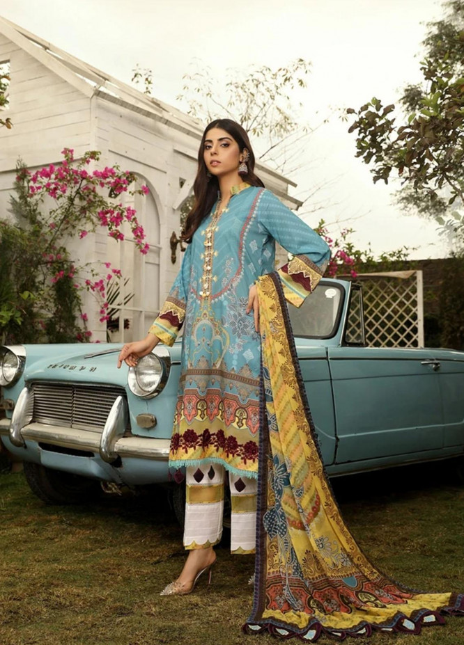 Aghaaz By Nuriyaa Printed Lawn Suits Unstitched 3 Piece NR21A ALYANA A - Summer Collection