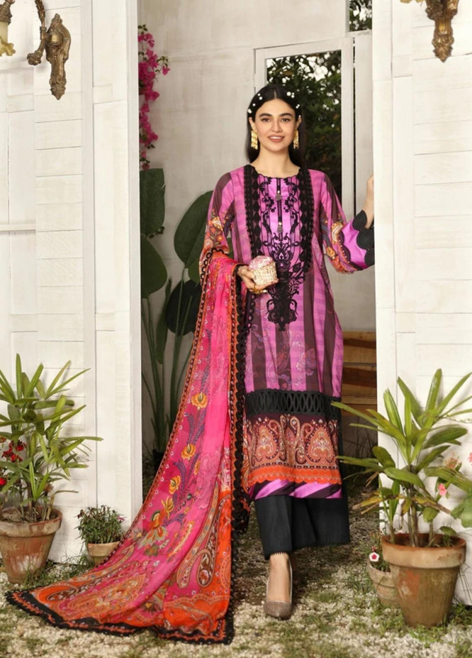 Aghaaz By Nuriyaa Embroidered Lawn Suits Unstitched 3 Piece NR21A DILARA A - Summer Collection