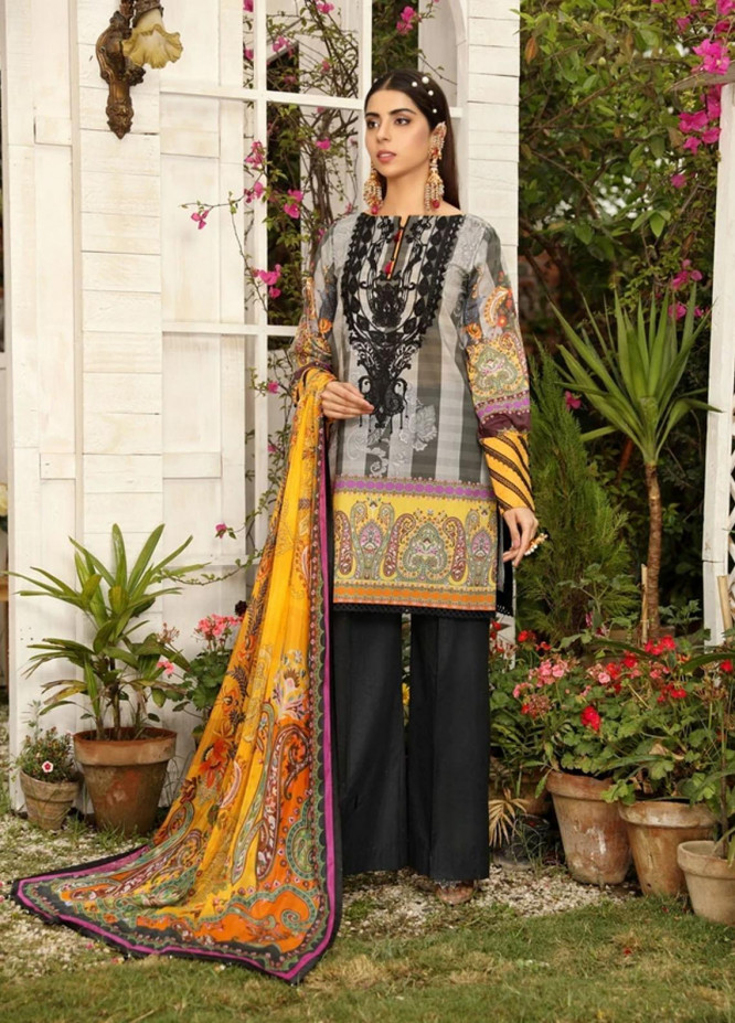 Aghaaz By Nuriyaa Embroidered Lawn Suits Unstitched 3 Piece NR21A DILARA B - Summer Collection
