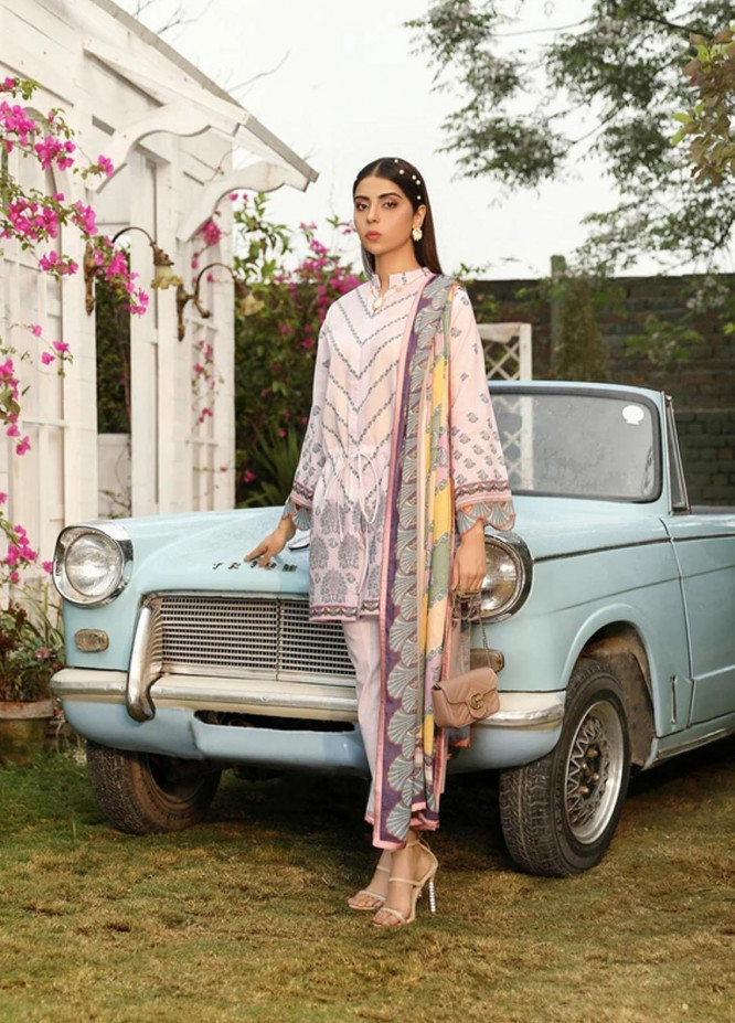 Aghaaz By Nuriyaa Printed Lawn Suits Unstitched 3 Piece NR21A EMEL A - Summer Collection